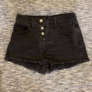 John Flat Black Button Jean Shorts